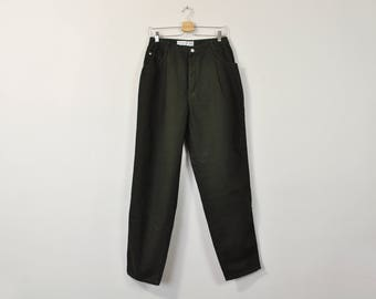 90s Mom Jeans, Vintage 90s Jeans, High Waisted Jeans, Dark Green Jeans, Relaxed Tapered Leg Jeans, Womens Jeans Size 14
