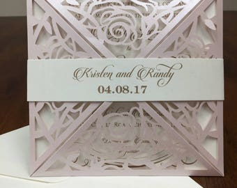 Laser cut wedding invitation set blush shimmer pocket kit laser cut invitation kit wedding invitation kit blush gold