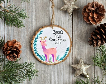 Personalized Christmas Ornament, Deer Ornament, Custom Holiday Ornament, Baby Girl Christmas Ornament, Kids name ornament, Rustic Ornament
