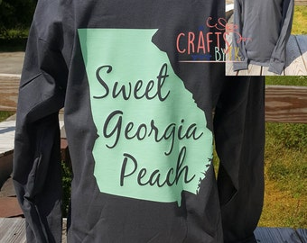 Sweet Georgia Peach Monogram pocket tee! Long sleeve or short sleeve monogram shirt! Lots of colors! Available in S-5XL! Plus size!