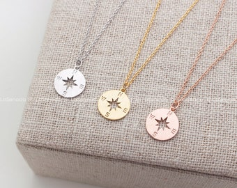 Personalized Compass Necklace, Gold Compass Necklace, initial jewelry, Nautical Jewelry, coin necklace, birthstone necklace