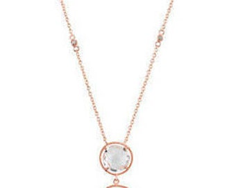 14K Rose Gold-Plated Sterling Silver Clear Quartz Necklace