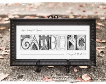Your Name in Architecture Photo Letters | Custom Framed Artwork | Black and White Photos | Unique Gift for Couple | Wedding Sign