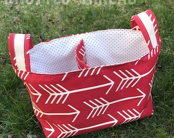 Red Arrow Divided Basket - Home Storage - Nursery Gift - Baby Shower Gift