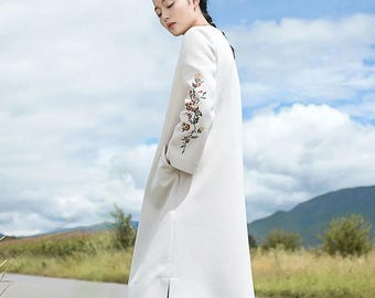 woollen coat  coat Winter Coat long coat  white coat