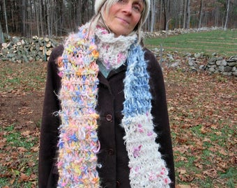 rustic hand knit long soft warm winter alpaca art yarn oversize gypsy boho cozy scarf -   country girl scarf