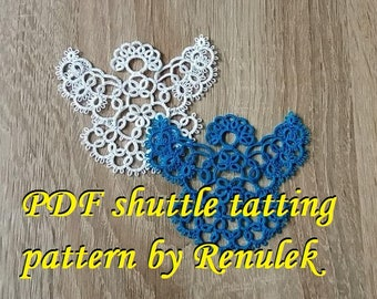 Blue Angel'PDF Original Shuttle Tatting Pattern by Renulek Instant Digital Download. Tatting yourself gift. Anioł. schemat frywolitki