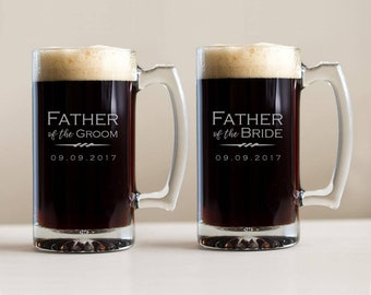 Engraved Father of the Groom or Father of the Bride Beer Mug: Large Personalized Father of the Groom Gift, Father of Bride Gift, SHIPS FAST