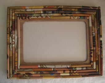 Picture frame, hand made with rolled paper in many shades of brown, special gift for many occasion