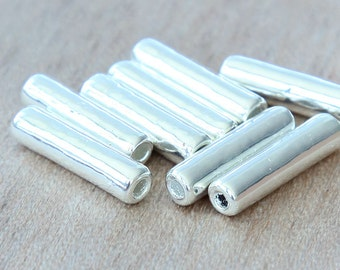 5 pcs Mykonos Ceramic Beads, Silver Plated, 18mm Tube - eM3516TS