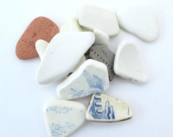 Sea beach pottery, Genuine English Cornwall UK, jewellery, mosaic, eco finds, eco craft supply, boho craft supply, gift for creative friend