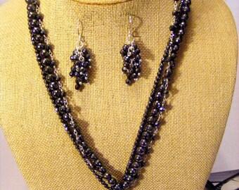 Hematite Multistrand Faceted Beaded Pendant Smokey Diamond Pendant Statement Necklace