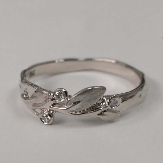 Charmant Leaves Diamonds Ring No. 9   14K White Gold And Diamonds Engagement Ring,  Engagement Ring, Leaf Ring, Antique, Art Nouveau, Vintage