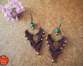 Bohemian Macrame hoop earrings, Macrame Earrings, Macrame Jewelry, gypsy earrings, , Macrame Jewelry, tribal, festival earrings, hippie