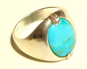 Sz 11, Men's Ring, Natural Indian Turquoise Ring, Hand Crafted Ring, Sterling Silver, Gemstone Ring, Exceptional Color Stone