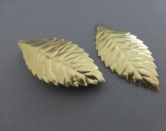 36 Vintage 2 Inch Embossed Gold Paper Leaves NOS