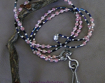 Handcrafted Eyeglass/ID Badge Lanyard with Pink Agate by JewelryArtistry - L92