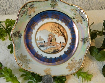 Asian Iridescent Lusterware Dish, Plate, Bowl, Candy Dish, Hand Painted, Gold Trim, Gilded, 30's 40's, Tohki Japan, Luster Ware, Opalescent