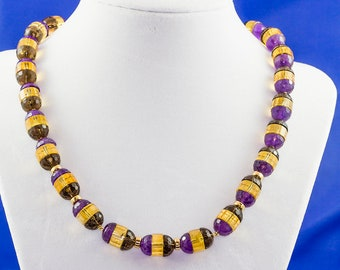 Statement multicolored necklace. Amethyst, Citrine, Smoky Quartz , Gold necklace, One of-a-kind  genuine gemstones, grade AAA necklace.