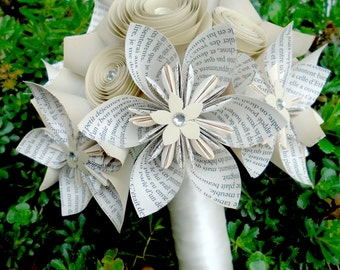 French Origami and Spiral Bouquet - Bridal Bouquet - Bridesmaid Bouquet - Alternative Flowers