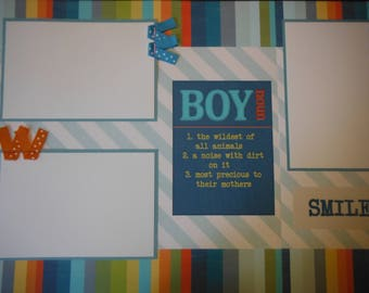 2 BOY Noun Smile  12x12 Premade Scrapbook Pages for your family