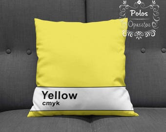 Sale !! CMYK Yellow - Pantone Pillow - Pillow Cover - Pillow Case - Cushion Case