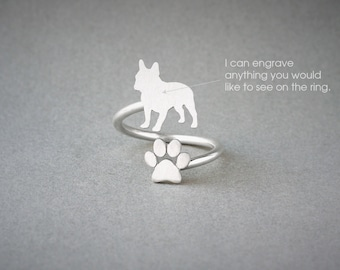 Adjustable Spiral FRENCH BULLDOG and PAW Ring / French Bulldog Ring / Paw Ring /Dog Ring / Silver, Gold Plated or Rose Plated.