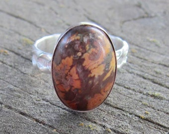 Native American Inspired Jasper Sterling Silver Ring - Size 9