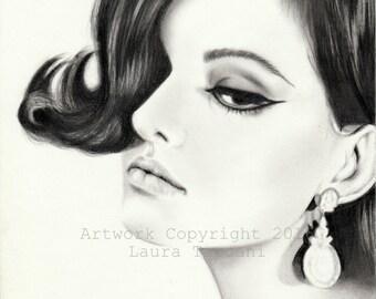 Ritratto di Claudia Cardinale - stampa artistica firmata - disegno grafite
