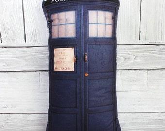tardis pillow, doctor who pillow, police box, police box pillow,