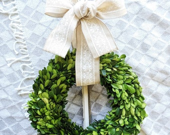 "16"" 14"" Preserved Boxwood Wreath, Green Wreath, Small, Large, Indoor Wreath, Country Wreath, Simple, Christmas, Modern Summer Year Round"