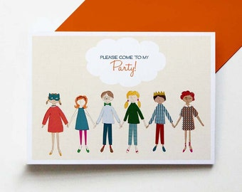 Paperchain - set of 8 party invitations
