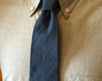 ON SALE Brushed Wool/Cotton Green-Blue Men's Necktie c1960s
