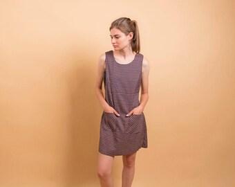 Plaid Shift Dress / 90s Plaid Dress / Esprit Dress / Tank Dress / Minimalist Dress Δ size: M