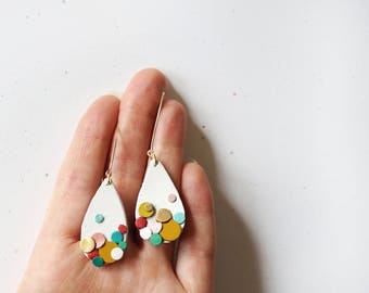 Rainbow Confetti Leather Statement Teardrop Abstract 14K Gold Filled Upcycled Colourful Sustainable Eco Friendly Gift Gifts Japanese