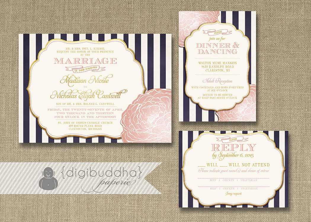 Invitation Cards For Wedding: Blush Pink & Gold Wedding Invitation RSVP Info Card 3 Piece