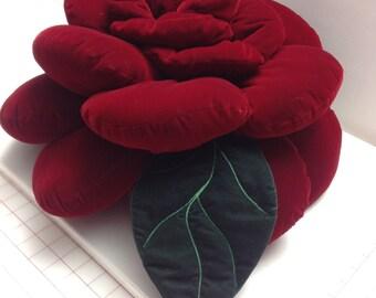 """Red Rose Velvet Flower Pillow/Home Decor/18""""x18""""/Throw Pillow/Flower Pillow/Accent Pillow/Decorative Pillow/Wedding Pillow/Christmas Gift"""