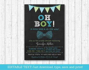 Bow Tie Baby Shower Invitation / Bow Tie Chalkboard Invitation / Little Man Invitation / Oh Boy / INSTANT DOWNLOAD Editable Text A202