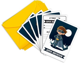 6 Miniz invitation ' and envelopes - birthday Invitation is Super - Heroes (in french)