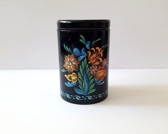Vintage Toleware Tin, Black Floral Small Metal Canister, English  Tea Tin