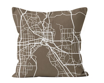 54 colors Jacksonville city map throw pillow cover, Jacksonville decor, Jacksonville gifts pride, Jacksonville new home missing moving