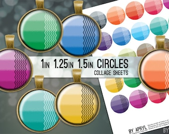 """Ombre with Chevron  1"""" 1.25"""" and 1.5 Inch Circles Collage Sheet for Glass and Resin Pendants Bottle Caps Digital Download JPG"""