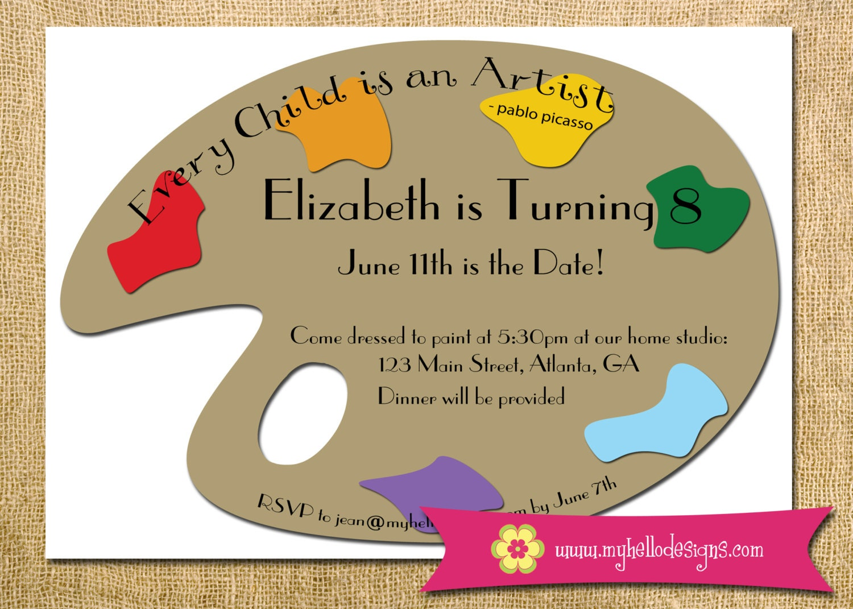 Printable Art Party Invitation Art Paint Palette Birthday