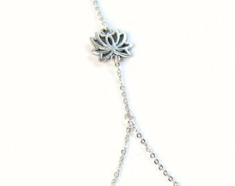 Dainty Lotus Silver Ring Bracelet, lotus flower slave bracelet, hand chain, bracelet bague, minimalist bracelet, silver slave bracelet