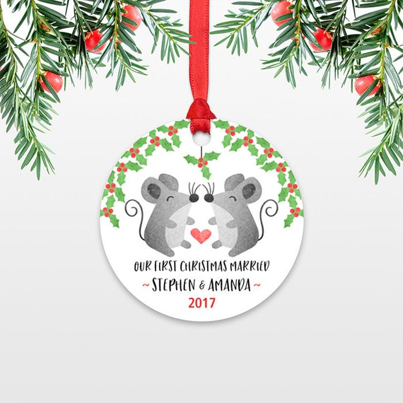 Mouse Couple First Christmas Ornament Personalized, Our First Christmas Married, 1st First Christmas Engaged, First Christmas Together