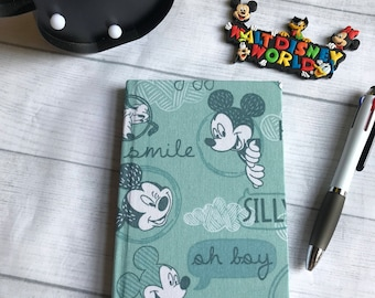 Mickey Mouse fabric covered notebook Disney print A6 personalised option