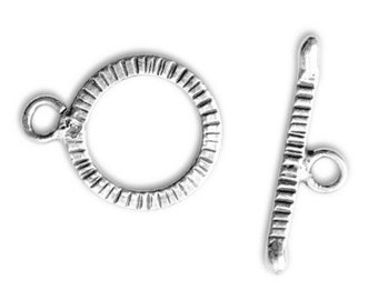 New! ONE SET Karen Hill Tribe Fine Silver Toggle Clasp, 20mm x 16mm ring with 24mm bar, oxidized finish, handmade supplies