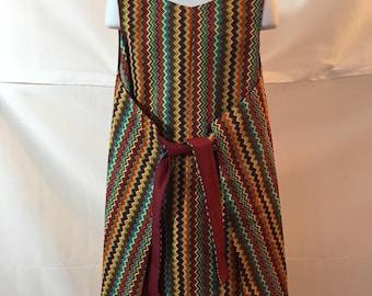 Girls 1960s Vintage Style Reversible Wrap Dress Size 7/8