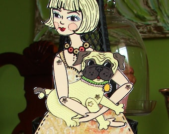 Original Fully Assembled Articutlated Blondie and her pug Paper Doll set