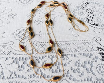 Fall Colors Long Triple Strand Necklace